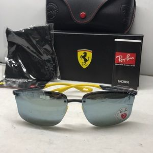 New Rayban Ferrari RB4322M Black/yellow Polarized